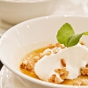 Butterscotch Pudding with Nutmeg Cashews and Salted Cream