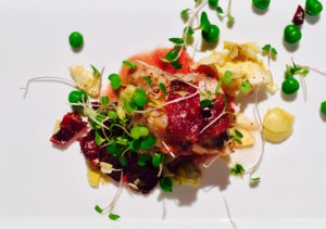 Wild Monkfish with Beef Brisket Bacon, Artichoke Hearts & Pinot Reduction